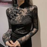 Girls Transparent Lace Blouses Shirts Tees Female Chinese St...