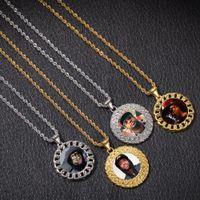 Whosesale 2 Color Gold / Sliver Iced Out Custom Photo Rhinestones Colgante Collar de imagen Letras joyería de Hip Hop precio barato