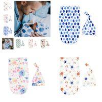 Neugeborenes Baby Cotton Schlafsack geknotete Cap 2Pcs / set Jungen Infant Mädchen Jungen Blumen Dinosaurier-Cartoon Swaddle-Verpackungs-Beutel + Hat Anzüge CZ309