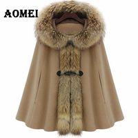 2019 donne di inverno mantello con cappuccio di lana cachemire colletto in pelliccia sintetica Cape Poncho di lana Autunno Cappotti Donna Cappotti Manteau Abbigliamento