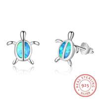 Solide 925 Sterling Silber Ohrstecker Blue Lab Opal Steine Tierschildkröte Frauen Schildkröte Schmuck Geschenk