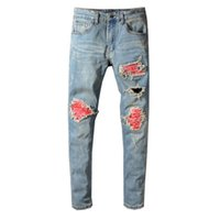 Mens Printed Patch Biker Jeans Mode Hellblau Moter Skinny Patchwork Holes Ripped Stretched Denim Pants