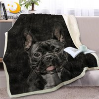 BlessLiving 3D Dog Sherpa Blanket on Beds Animal Fur Throw B...