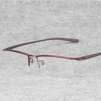 Toptan-Men Gözlük Esnek Tapınaklar Bacaklar IP Elektrolitik Alaşım Malzeme için Titanyum Alaşım Yarım Jant Gözlükler Çerçeveler