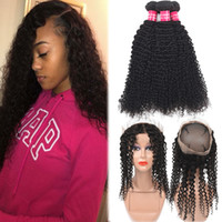 9A Mongolian Kinky Curly Virgin 3 Bundles With 360 Full Lace...