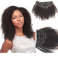 Afro Curl Clip в наращиваниях волос натуральный черный цвет странный курчавый уток с клипами Virgin Humanhair