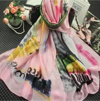 Ventas directas de fábrica Bufanda de seda de lujo para mujeres 2019 Diseñador de primavera Flor floral Bufandas largas Wrap 180x90Cm Mantones