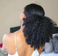 Afro Puf Kıvırcık At Kuyruğu Insan Saç Chignon Ile Iki Plastik Combs Ile Kısa Düğün Sahte Saç Bun Afrika Kadınlar Için Updo At Kuyruğu Klip