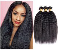 Viya Brazilian Remy Human Hair Bundles Machine 더블 Weft Kinky 스트레이트 Yaki 소프트 및 매끄러운 10-28inch 3 조각 색칠 수 있습니다