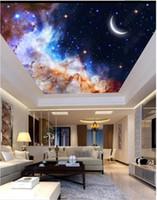 Gros-Intérieur plafond 3D papier peint peintures murales personnalisées papier peint Dreamy ciel étoilé lune zénith plafond décoration murale papel de parede