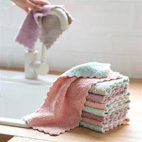 طبق غسل القماش إزالة النفط امتصاص الماء الليفة مطبخ التنظيف المنزلية منشفة على الوجهين قماشة لغسل الصحون T9I00345