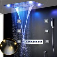 متعددة الوظائف LED مخفى سقف دش مجموعة كبيرة المطر شلال تدليك الأعلى الدش ضبابي 6 وظيفة ثرموستاتي تدفق عالية خلاط مجموعة