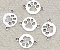 100шт Vintage Silver Paw Print Dog Footprint очаровывает Разъемы для Браслет Подвески Изготовление ювелирных изделий 24x17mm