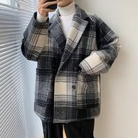 Miscele di lana da uomo 2021 Uyuk Style Style Cappotto Coreano Versione coreana di Woolen Slip Trench Trench Hip Hop Trend Homme Hombre