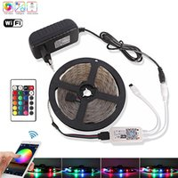 5M 10M 15M RGB Led Faixa WiFi 2835 DC 12V Diodo Waterproof fita flexível da fita Fita Tira LED Stripe Light + IR Remote + UE Adapter