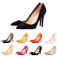Avec la boîte ACE designer de luxe chaussures chaussures rouge bas talons hauts 8cm 10cm 12cm Nude noir rouge en cuir Bout pointu Escarpins Chaussures habillées