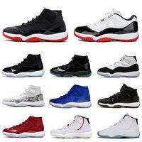 Nike air jordan retro 11s jordans 11 jumpman الجديد 11 11S XI الرجال النساء أحذية كرة السلة الأبيض ولدت 2019 فضي لامع كونكورد 45 23 غاما الأزرق جلد الثعبان الرياضة أحذية رياضية