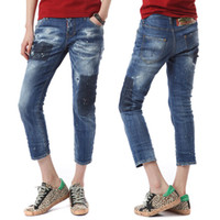 2019 Hot Sale Women' s Motocycle Jeans Distressed Knee B...