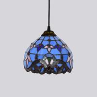유럽 8 인치 빈티지 티파니 매달려 푸른 스테인드 글라스 샹들리에 침실 발코니 복도 유리 펜던트 lampTF003 램프.