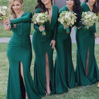 Yeşil Gelinlik Modelleri Derin V Boyun Ön Yarık Uzun Kollu Mermaid Kat Uzunluk Uzun Servi Onur Elbiseler Gelinlik