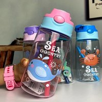 Fantastische Kinder Sippy Tasse Plastikbecher Cartoon Cup Netter Ozean Kreative Kindergarten Baby-Schüler Kessel Individuelle New FY4126