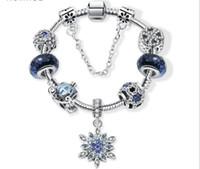 سحر الخرز صالح ل باندورا مجوهرات 925 الفضة أساور ندفة الثلج قلادة الإسورة السماء الزرقاء اليقطين عربة سحر diy مجوهرات مع هدية مربع