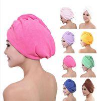Włosy Turban Ręcznik Kobiety Super Chłonny Cap Prysznic Szybkoschnący Ręcznik Mikrofibry Włosy Sucha Łazienka Czapka Włosowa Bawełna 60 * 25cm DC034
