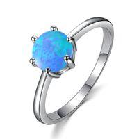 LuckyShine 6 Adet / grup Kraliyet Tarzı Yuvarlak Mavi Yangın Opal Taş 925 Gümüş Kadınlar Alyans Aile Arkadaşı Tatil Hediye Yüzükler