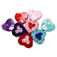하트 모양의 상자 로즈 비누 꽃 어머니의 날 수제 비누 꽃 로맨틱 발렌타인 데이 생일 웨딩 파티 선물 꽃 DH1283