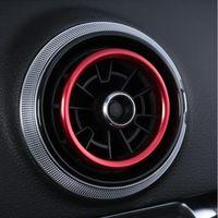 Decalcomanie del cerchio della presa d'aria del condizionatore d'aria della sezione comandi concentrare per Audi A3 8V 2013-2019 interno Decalcomanie del cerchio delle prese d'aria d'argento blu rosse