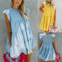 패션 여성 여름 캐주얼 짧은 소매 드레스 저녁 파티 해변 미니 드레스 새로운 여성 순수한 색 짧은 드레스