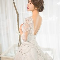 2018 New Arrival Crystal Wedding Dresses O- neck Half Tulle S...