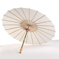 Parapluie de mariage en papier blanc avec parapluie en papier blanc Manche en bois avec parapluie artisanal chinois japonais 40cm diamètre 60cm