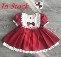 EN STOCK al por menor 2020 Spring Girl España del arco del cordón vestidos de los niños de la princesa dulce ropa de los niños del vestido de partido