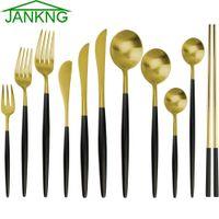 JANKNG 6Pcs Conjuntos de vajilla de acero inoxidable, oro negro, tenedores, cuchillos, palillos, cuchara pequeña para café, té, vajilla de cocina, accesorios de fiesta