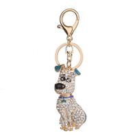 Cristal chiot Keychain en alliage diamant chien sac Porte-clés Porte-voiture Pendent Porte-clés ornement de mariage de cadeau d'anniversaire GGA2755