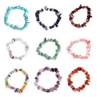 7 Chakra-Armbänder für Frauen 19 Farbe Heilkristalle Natürliche Steinchips Einzelne Strang Frauen Armbänder Lazuli Reiki Armbänder für Frauen