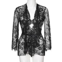 Sexy Lace See Through Sleepwear Summer Cardigan Bandage Wome...
