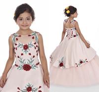 Şeftali Pembe Kızlar Pageant Elbiseler 2020 Prenses Baskılı Flora Sheer Boyun Çiçek Kız Elbise ile Dantel-up Geri BC2478