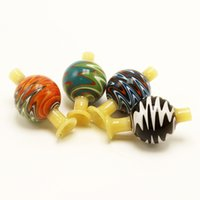 Colorful 28mm OD Glass Straw Carb Caps With Hole For Flat To...
