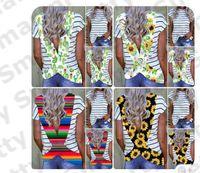 camisa S-3XL Verão Mulheres Backless T Floral Sun Flower listrada de manga curta T-Sport Top Cruz Belt Leopard Beachwear Bikini Cover Up E31204
