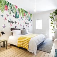 النباتات الخضراء أوراق الزهور فراشة ملصقات الحائط ديكور المنزل غرفة المعيشة خلفية الديكور الشارات adhesvie الذاتي