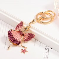 Creative Keychain Alloy Rhinestone Female Angel Keychain Han...