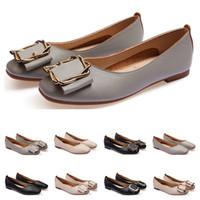 dames Chaussures plates taille lager 33-43 femmes fille nue en cuir gris noir Nouveau arrivel mariage Groupe de travail chaussures habillées Cinquante-sept