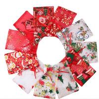 Noël Sacs cadeaux de Noël de sucrerie Sac Organza Père Noël Imprimé Gaze Fils Drawstring Pouches Décoration de Noël Cadeaux de Noël Party 11 couleurs WY86Q