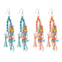 2 paires de boucles d'oreilles perle corde tressée Diy tissé à la main Boucles d'oreilles pompons ethniques