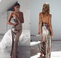 2019 Cheap Backless Sequined Evening Dress Spaghetti Straps Arabic Dubai Celebrity Formal Holiday Wear Prom Party Gown Custom Made Plus Siz