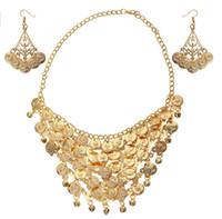 Jogo de jóias ciganas do ventre tribal, brincos de colar de ouro, ideia do presente
