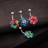 Moda Body Jewelry 18K White Gold Plated Multicolor Cubic Zirconia Flores piercing no umbigo anel do anel do umbigo para o partido