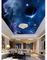 Foto personalizzata 3D soffitto zenith interno decorativo murale Sci-Fi Planet Space Hotel Soggiorno Zenith Ceiling Wallpaper